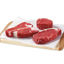 Pfaelzer's Gourmet Assortment includes filets, NY strip steaks, and porterhouse steaks