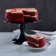 Red velvet cake frosted with light cream cheese buttercream